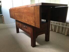 Beautiful wood drop leaf table with drawers