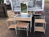 White metal & glass top furniture set £89