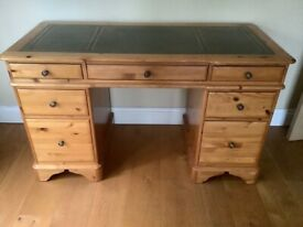Solid Pine Office/Study desk with Leather inlay