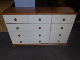 Pine and cream chest of 9 drawers