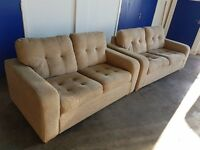 FABRIC BEIGE LOUNGE SUITE 2 SEATER & 3 SEATER SOFA / SETTEE SET 2 SOFAS DELIVERY AVAILABLE