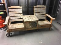 GARDEN WOODEN TWOCHAIRS FIXED WITH TABLE IN MIDDLE