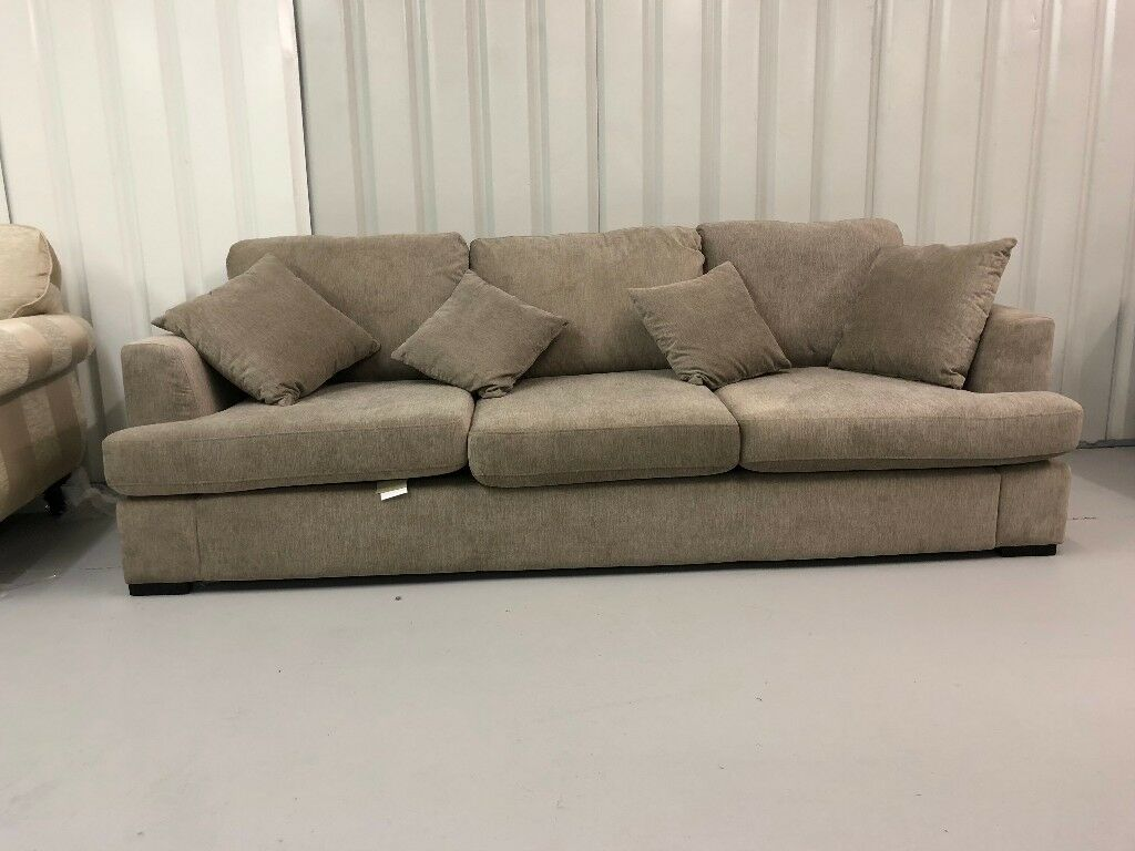 Ex Display Dfs Freya 4 Seater Sofa In Taupe Fabric New