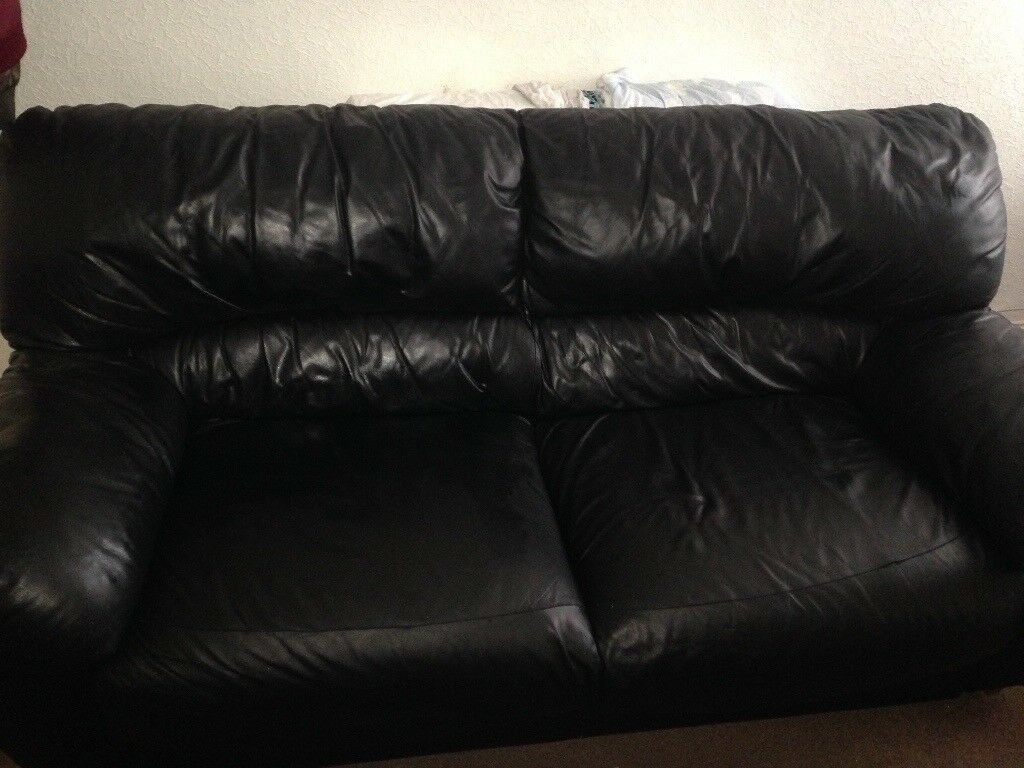 3 seater and two seater black leather sofa