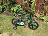 "Boys Raleigh bike MX14 14"" with stabilisers"