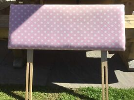 Pink and white spot headboard