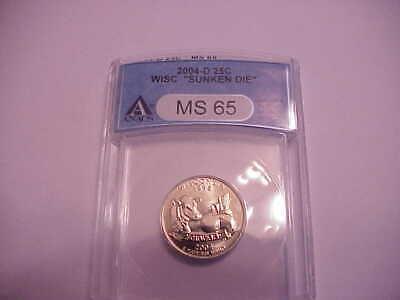 Used, 2004 D Wisconsin Sunken Die Error Quarter ANACS MS 65 Nice Rare Wisconsin Item for sale  McQueeney