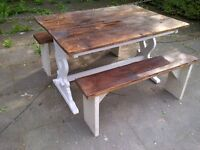 FARMHOUSE TABLE 2 bench c heavy app 4ft x 3ft with reclaimed rustic top SHABBY CHIC