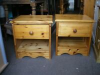 MATCHING PAIR OF PINE BEDSIDES
