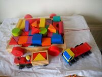 Wooden pull along tray and extra blocks plus 2 wooden toys and castle blocks