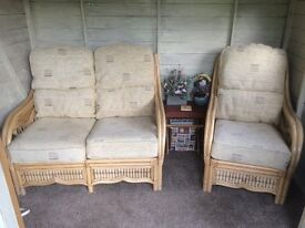 Conservatory Cane and Rattan Suite - 2 Seater - Chair - Storage footstool