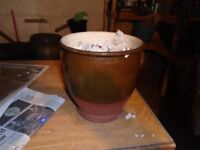 Oven Fired Clay Glazed Urn For Sale.