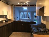 Kitchen units with hob and extractor fan