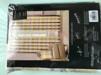 Unused Harry Corry lemon/grey tartan check curtains
