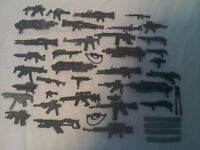Collectable action figures weapons 38 in total.