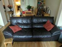 3,2,1 brown leather suite of furniture, lovely sofa