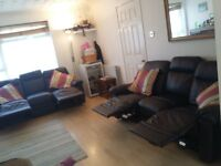3 SEATER, RECLINING, BLACK LEATHER SOFA X 2 £390.00each THE SETTEES WERE ONLY BROUGHT FEB 2017
