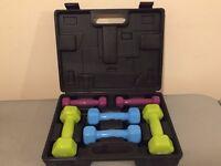 3 pair USA Pro Dumbell set + 2 exercise mat for immediate sale