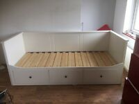 White IKEA Hemnes day bed sofa converts from single to King size