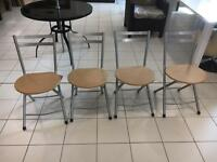 Set of 4 fold away dining chairs ex display