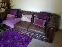 Vintage brown leather chesterfield 3 seater sofa