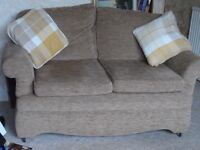 HLS Double sofa and matching chair. Hardly used so in excellent condition. Beige in colour.