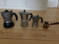 Set of 3 Italian stove-top coffee makers (incl Bialetti and Mukke Express) plus Turkish coffee maker