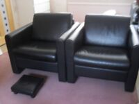 BLACK REAL HIDE LEATHER SOFA AND CHAIRS OVER 3K NEW £300 THE LOT