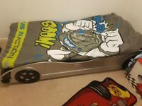 Silver single car bed with mattress