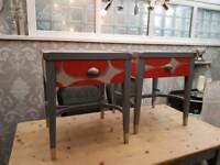 Upcycled 2 x bedside  lamp tables SOLD