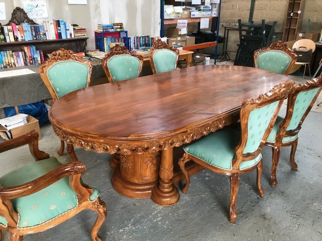 Indonesian Carved Teak 7ft X 4ft Solid Dining Room Table Chairs Sold