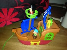 Plastic Pull Along Toy Pirate Ship with Crows Next & 2 Pirates - Musical - GU