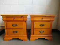 PAIR OF SOLID PINE THREE DRAWER BEDSIDE TABLES BEDSIDE CHEST OF DRAWERS FREE DELIVERY