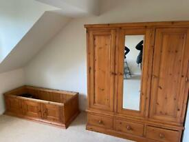 Large Pine Wardrobe with Full Length Mirror in Excellent Condition