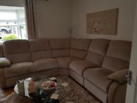9 months old lazy boy five seater corner sofa with two end recliner seats & cuddle chair
