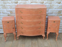 French style chest of drawers + pair of bedsides (Delivery)