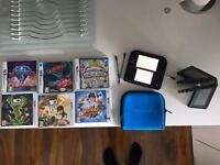 Nintendo 2ds with games and case