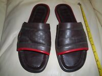 AUTHENTIC GUCCI MENS FLIP FLOPS SANDLES BROWN EMBROIDERED SIZE UK 8.5 EU 42.5