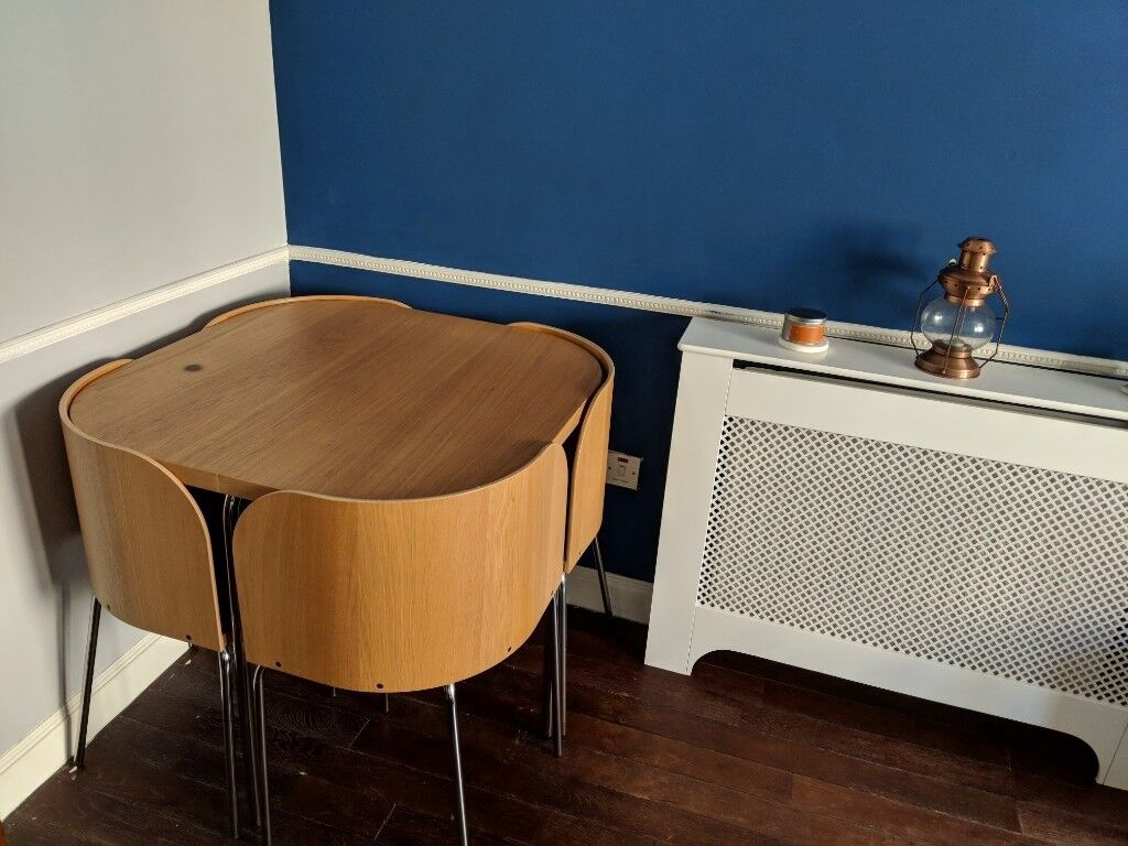 Ikea Fusion Space Saving Dining Table And 4 Chairs Light