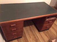 Solid Wood Office / Writing Desk with 2 Pedestals