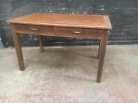 Fabulous antique leather topped two drawer oak desk
