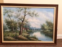 Oil Painting Original Artwork River stream scene by Angastin
