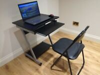 Portable computer desk with foldable chair