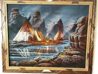 Black Velvet Painting Native American Indian Encampment Signed Sanchez Framed Made in Mexico