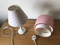 Girls bedroom, Next bed side lamp and lamp shade and bedding