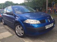 2003 RENAULT MEGANE. BRILLIANT DRIVE. RECENTLY SERVICED. FREE WARRANTY. ELECTRIC WINDOWS. CD PLAYER.