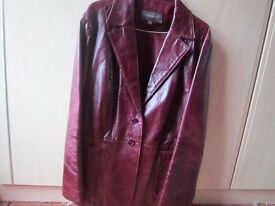 Oxblood red ladies leather jacket size 16