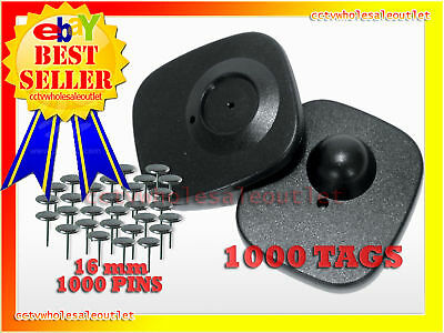 SECURITY TAG 1000 PCS & 16mm PINS 8.2MHZ