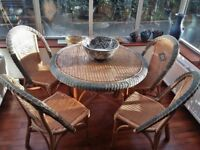 Wicker Garden/Outdoor/Conservatory Furniture Set, Glass Top Table & 4 Chairs