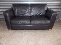 Black Full Leather 2-seater Sofa